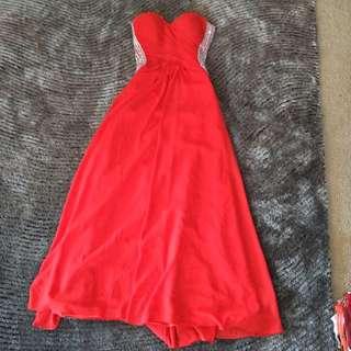Red Backless Formal Dress Custom Made