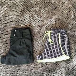 Black Tie Belt Shorts + Gym Pants