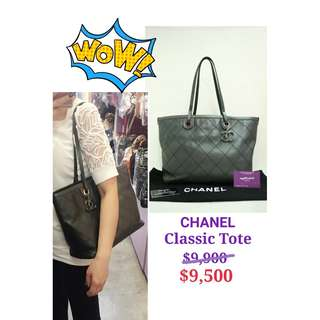 95% New CHANEL A99221 黑灰色 牛皮 銀黑色 CC Logo 肩背袋 手提袋 手袋 Black Grey Calfskin CC Logo Handbag with Silver Black Hardware