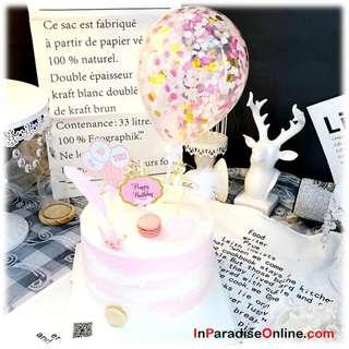 Mini Pink Confetti Balloons Cake Topper