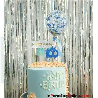 Mini Blue Confetti Balloons Cake Topper