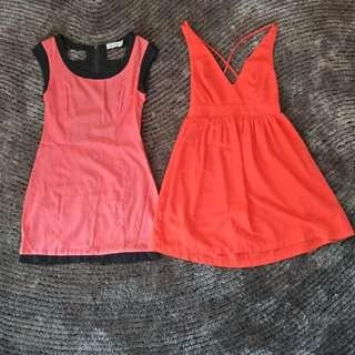 Orange Party Dress Xs,  Crossover Back
