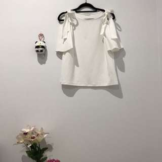 Japanese Boutique style cold shoulder ribbon top