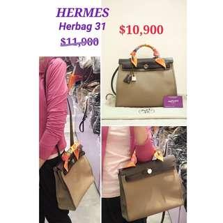 85% New HERMES Herbag 31 Brown 奶茶啡色 帆布 啡色 皮革 肩背袋 手挽袋 手袋 Canvas Leather Handbag