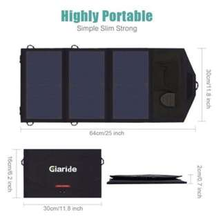 21W Portable Foldable Solar Charger 5V USB + 18V DC Output Sunpower Solar Panel for Tablet, iPad, iPhone, Galaxy, 12V Car/Boat/RV Battery, Travel, Camping