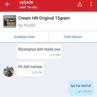 Testimoni cream HN!!
