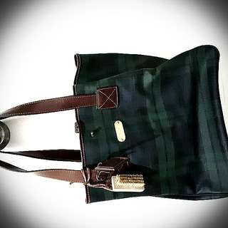 經典綠色格仔袋