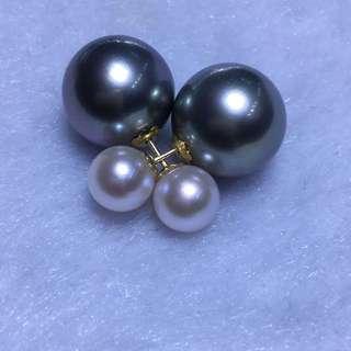 100%天然大溪地黑珍珠加日本Akoya 珍珠前後款耳環
