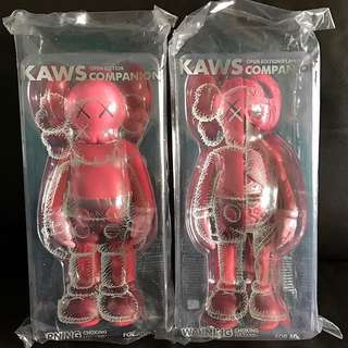 Authentic Kaws Companion Red Blush Frayed Open Edition 2pc Set