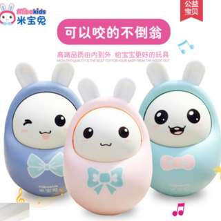 MIBOKIDS Nodding Tumbler Dolls Roly-poly Toy Early Learning Rabbit Musical Bell