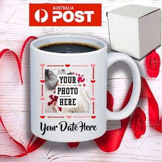 Personalised Valentine's Day mug with your photo and date 11oz coffee mug with free gift box