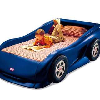 Little tikes blue toy car bed + Sealy single mattress