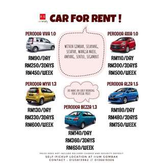 PERODUA VIVA AXIA MYVI BEZZA ALZA FOR RENT