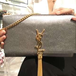 YSL Kate Tassel Sling Bag - Silver GHW
