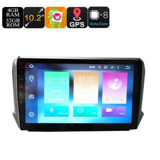 Peugeot One Din Car Stereo - 10.2 Inch Display, 4+32GB, Android 6.0, GPS, WiFi, 3G Support, CAN BUS, Octa-Core CPU, Bluetooth (CVAIO-C614)
