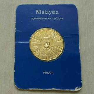 Malaysia 1976 200 Ringgit Proof Gold Coin