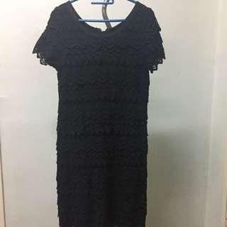 Black Crochet shift dress