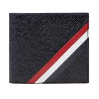 THOM BROWNE DIAGONAL STRIPE CARD BILLFOLD WALLET銀包(black)