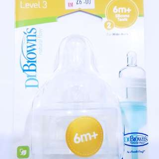 *New* Dr Brown's wide neck level 3 silicone teats