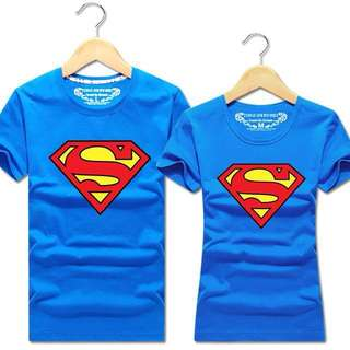 New couple cartoon superman t-shirt men short sleeve t-shirt short sleeve woman Lovers-t male tide of summer clothing