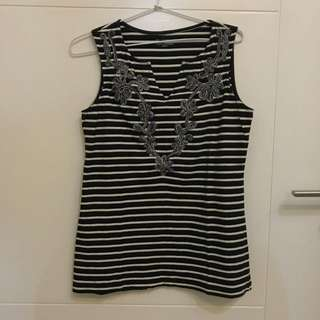 Embroidery Stripes Tank