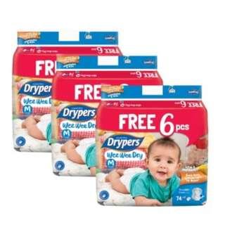 Drypers Wee Wee Dry size M 74+6 (3 packs)