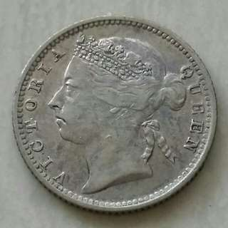 Straits Settlements 1899 10 Cents Silver Coin With Good Details