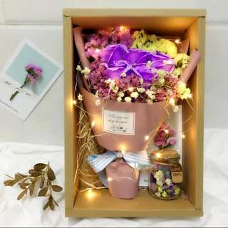 Roses and Baby Breath Bouquet Gift Box