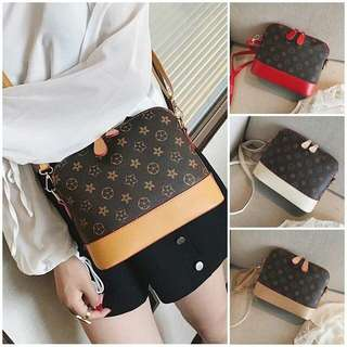 Lv alike shell sling bag Ready stock Material : pu Size : 24*24*20cm Colour : red, brown, cream