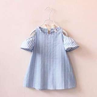 Striped Off Shoulder Dress (Blue)