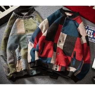 🚚 FRANK'S日本特進--街頭經典風格 原創 歐美 復古 素色 毛呢 拼接夾克 保暖外套 撞色 拼接 大尺碼有