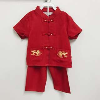 CNY Traditional Boy Double Dragon Set (Red)