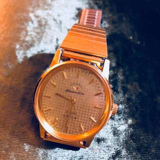 鑽石牌上海手錶四廠鍍金防震上錬金錶