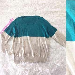Korean 2tone knit green oat sleeve top