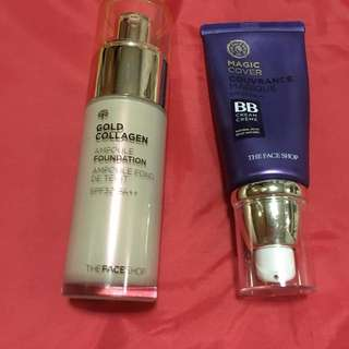THE FACE SHOP Gold Collagen Foundation with spf and Magic BB Cover with spf