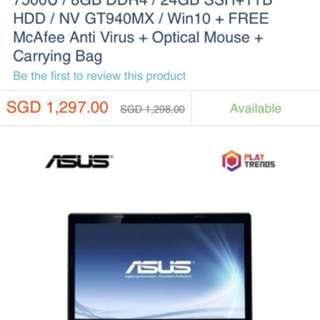 Asus i7-7500U 2.9GHz 8G