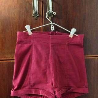 HerBench maroon chino shorts
