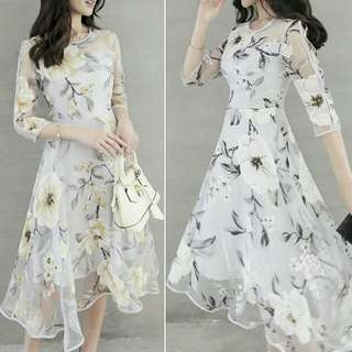 Midi Dress Flower Printed