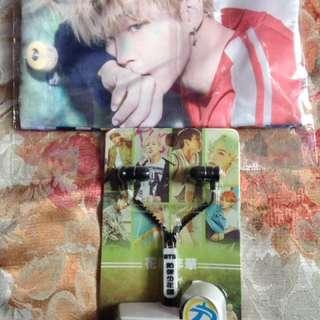 Jimin BTS Pencil Case and BTS Zipper Earphone