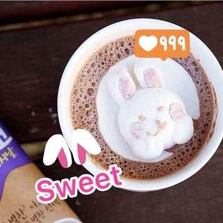 🇰🇷韓國🐰小兔兔棉花糖🤩朱古力熱飲 ♨️