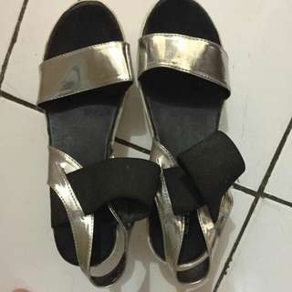 Wedges Platform Black White and Silver