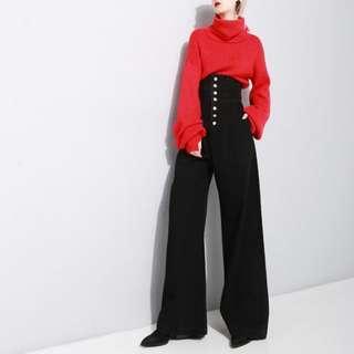 🚚 VM 時尚歐美街拍款 超級顯腿長 超級高腰 闊腿做舊高級黑 牛仔拖地長褲