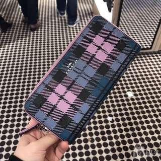 shadow plaid print coach wallet