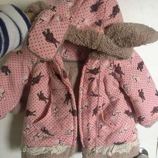 粉紅碎花 兔仔耳 毛毛 厚外套