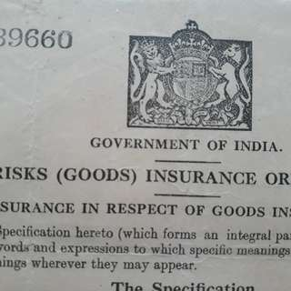 British INDIA - King GEORGE - 1944 - WAR RISKS ( GOODS ) INSURANCE  - in18