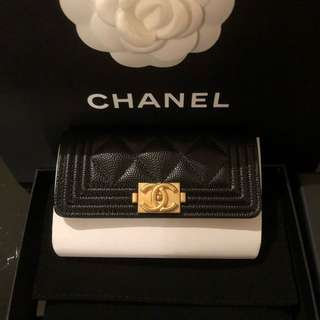 Boy Chanel card holder in black caviar leather with gold hardware 香奈兒黑色牛皮金扣零錢卡包