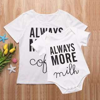 """Mama and baby twinning set. """"Always More coffee"""" and """"Always More milk"""""""