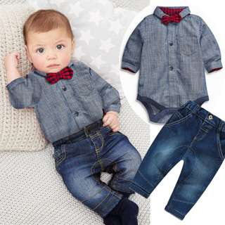 ✔️STOCK - 3pc PREMIUM CNY RED BOW JEANS BLUE ROMPER TOP & JEANS PANTS BABY TODDLER BOY SET KIDS CHILDREN PARTY BIRTHDAY CLOTHING