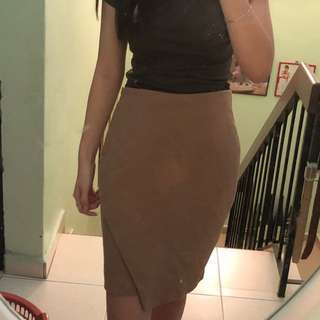 H&M Sand Brown Midi Skirt with Cutouts