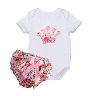 ✔️STOCK - 2pc PRINCESS CROWN WHITE SHIRT TOP & RUFFED PINK BLOOMER SHORTS SET BABY TODDLER GIRL KIDS CHILDREN CLOTHING
